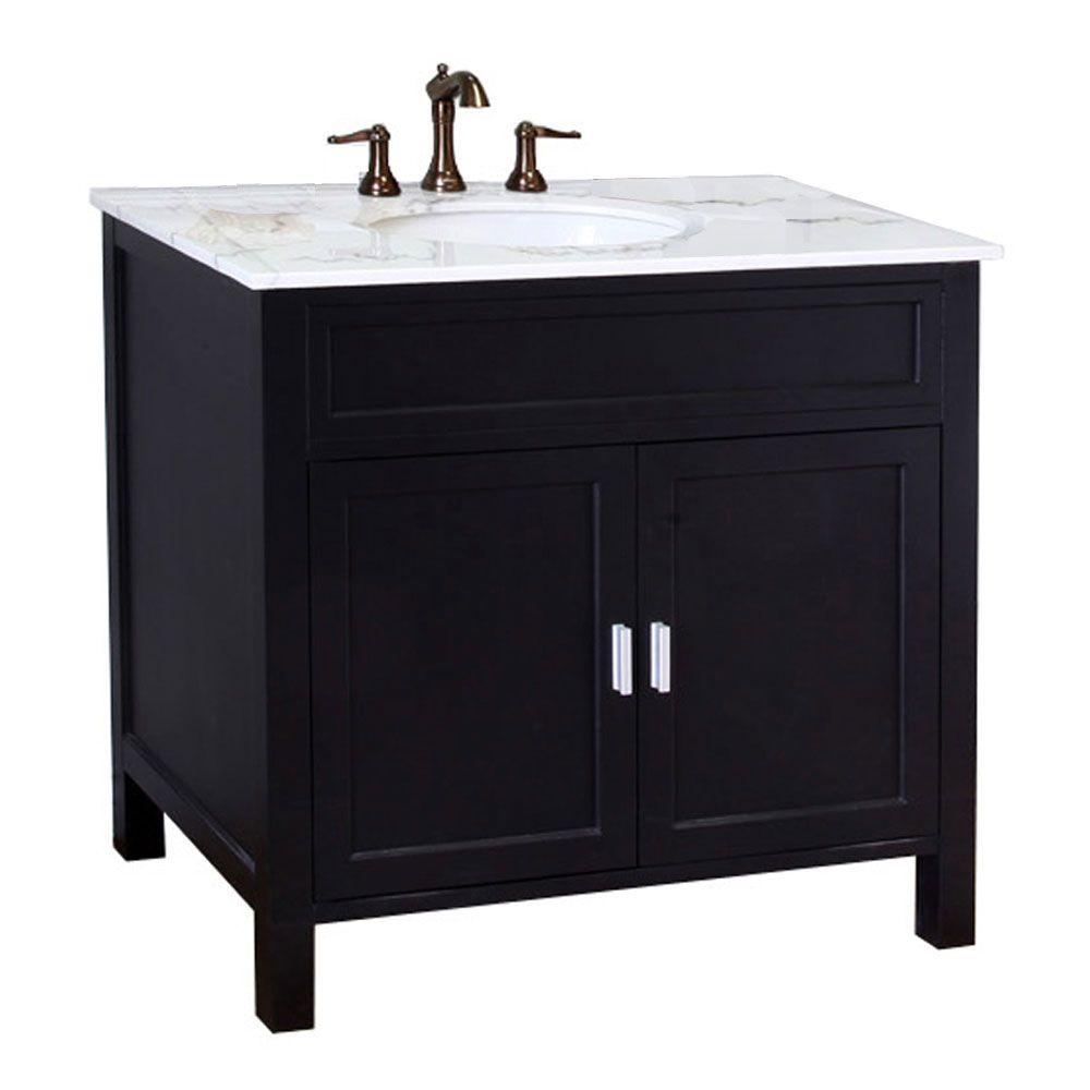 Ellen B Meuble-lavabo noir de 36 po avec comptoir en marbre blanc