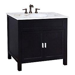 Bellaterra Elite 36-inch W 2-Door Freestanding Vanity in Black With Marble Top in White