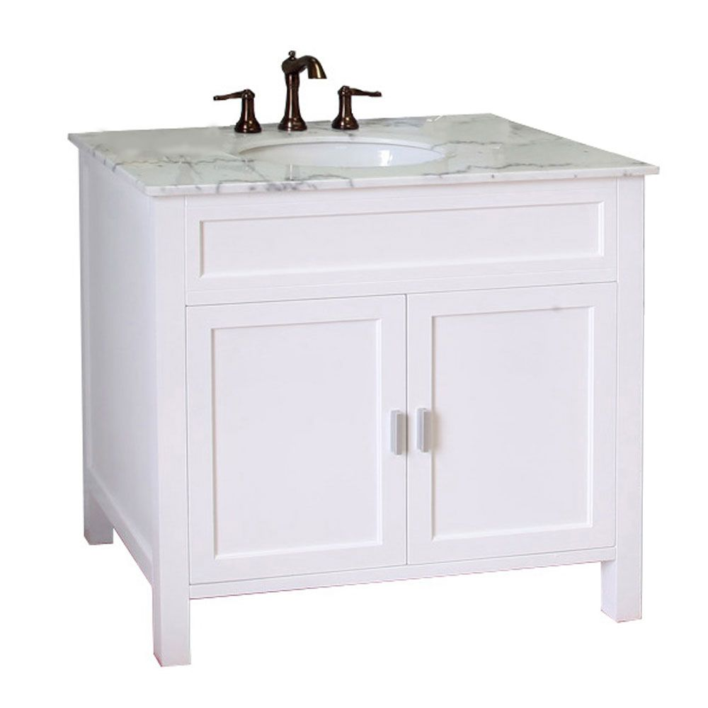 Bellaterra Elite 36-inch W x 36-inch H Single Vanity in White with Marble Vanity Top in White