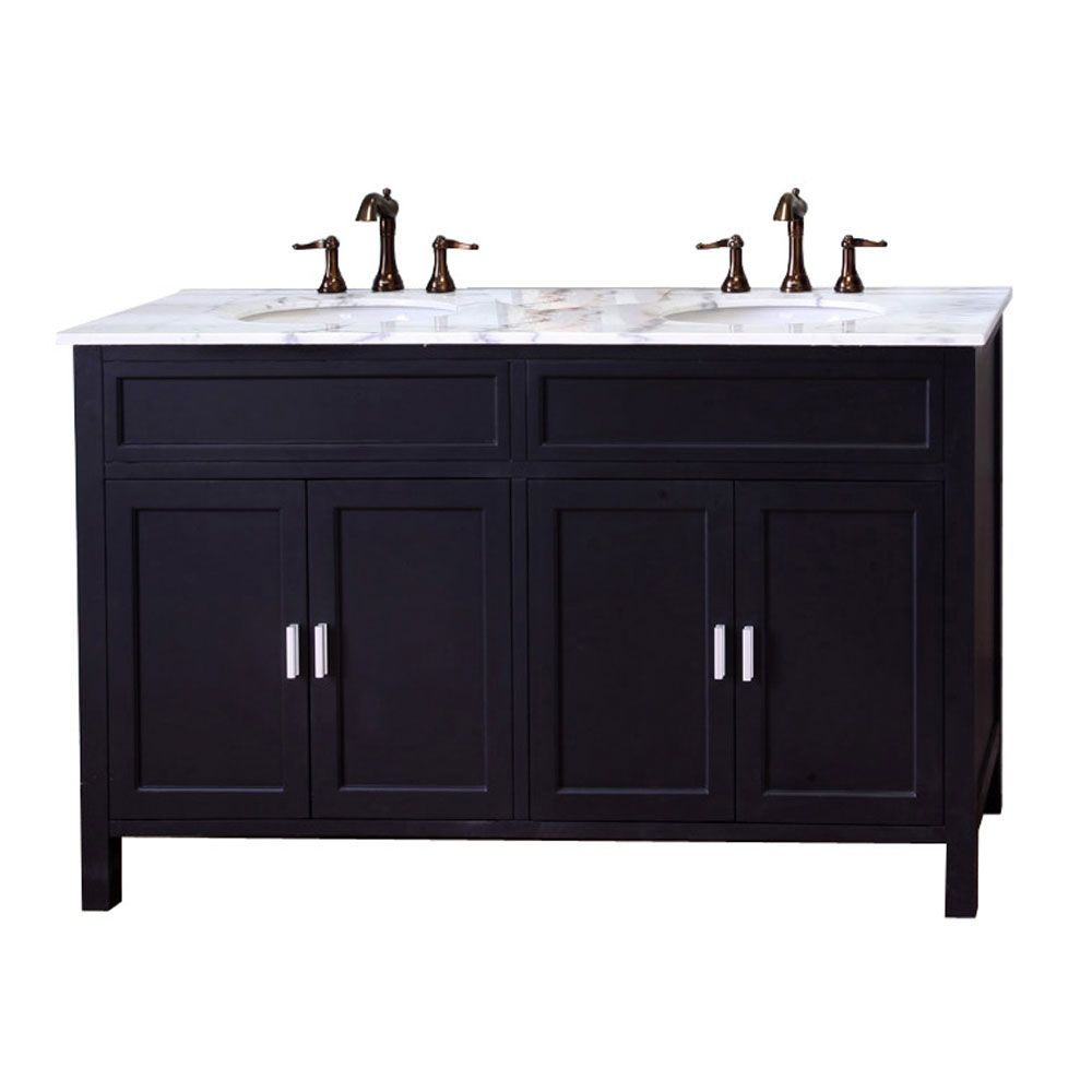 Elite 60-inch W Vanity In Ebony with Marble Vanity Top in White