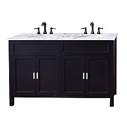 Bellaterra Elite 60-inch W 4-Door Freestanding Vanity in Black With Marble Top in White, Double Basins