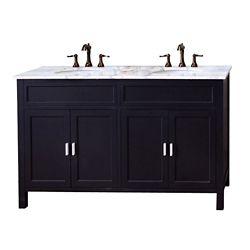 Bellaterra Elite 60-inch W 4-Door Freestanding Vanity in Black With Marble Top in White, Double Basins