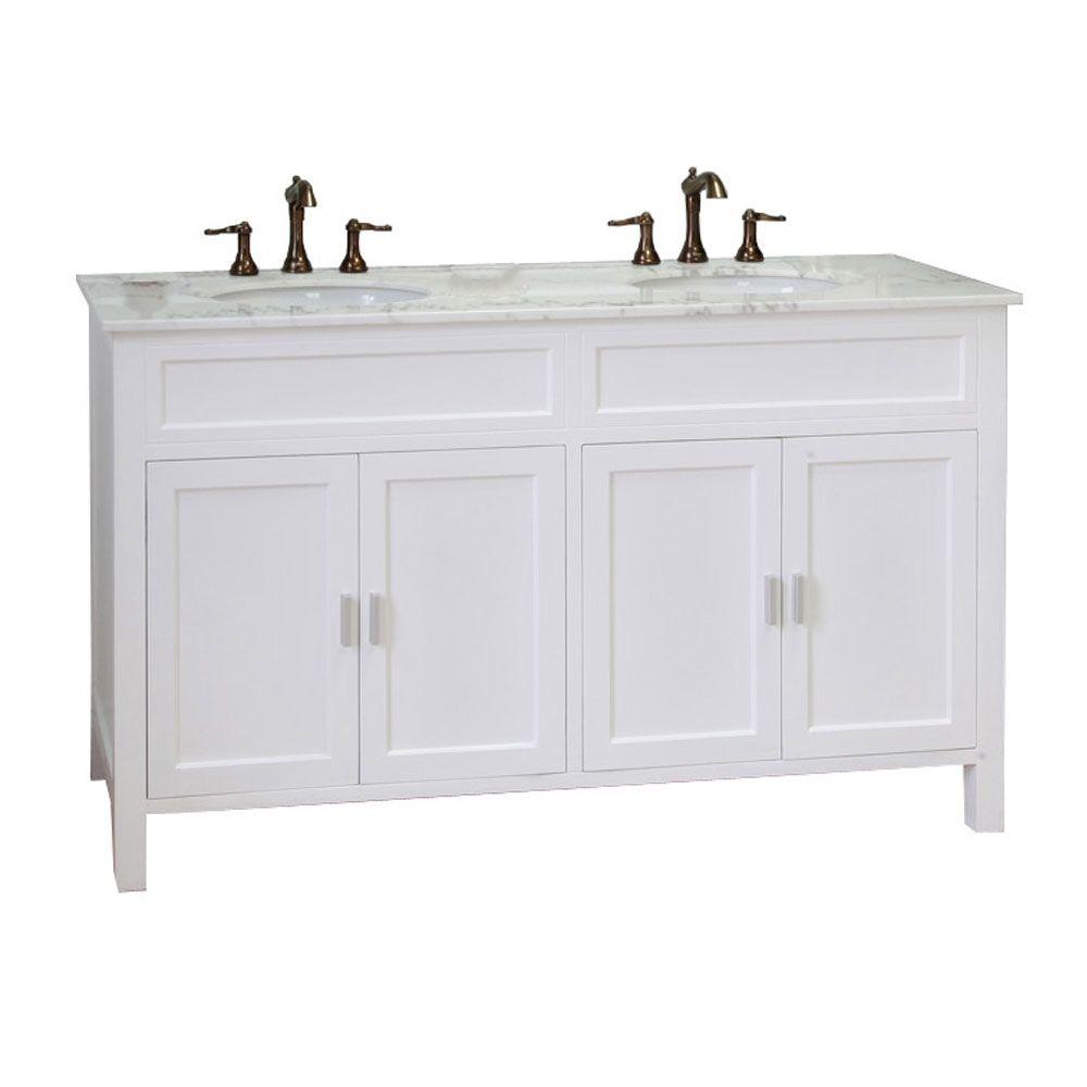 Elite W Meuble-lavabo blanc de 60 po avec comptoir en marbre blanc