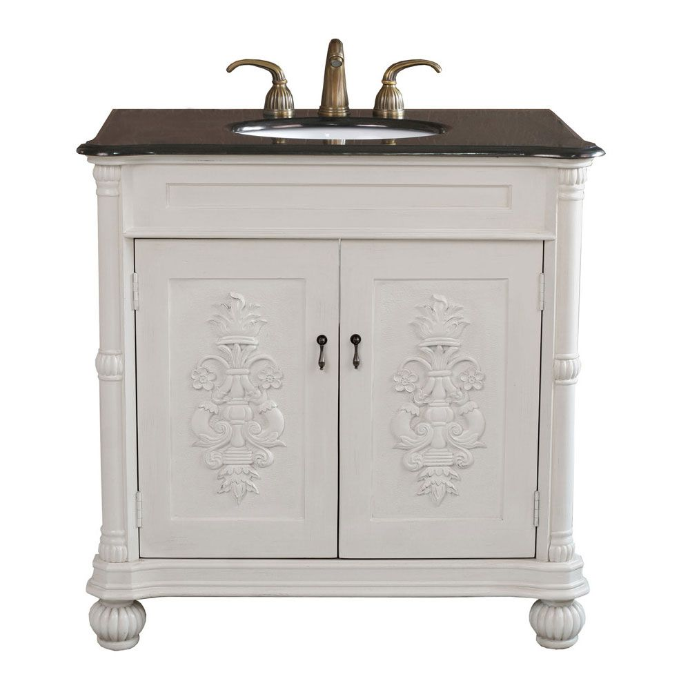 Estate 36-inch W Vanity in Antique White Finish with Granite Top in Black