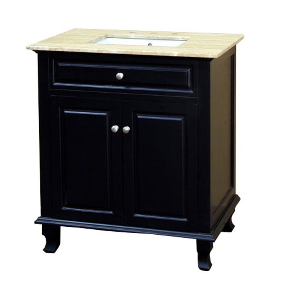 Durham 32-inch W Vanity in Ebony Finish with Natural Stone Top in Travertine