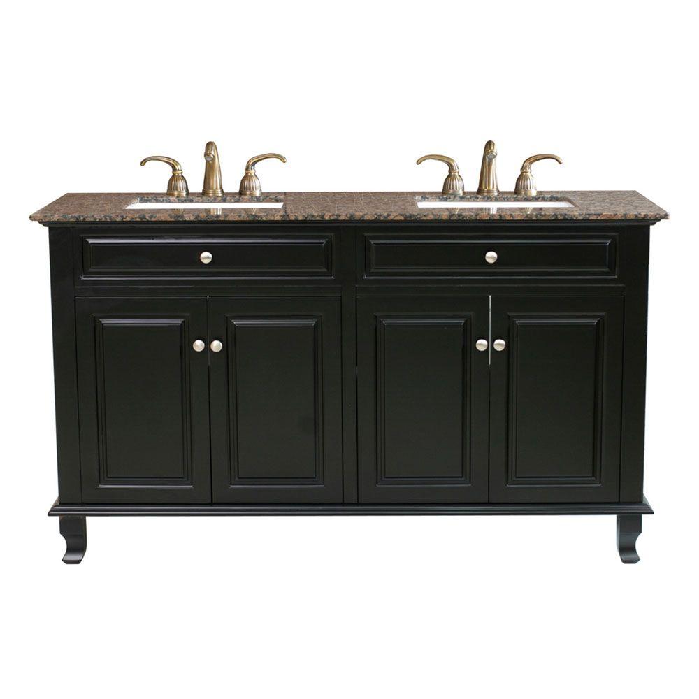 Bellaterra cardiff bb meuble lavabo double noir de 62 po for Meuble aubaine