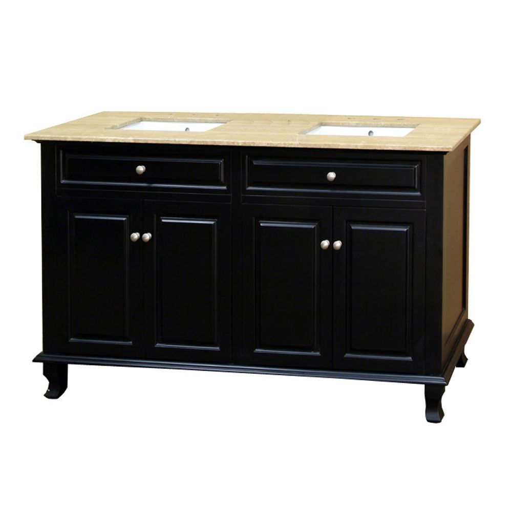 Cardiff 62-inch W Double Vanity in Ebony Finish with Marble Top in Travertine