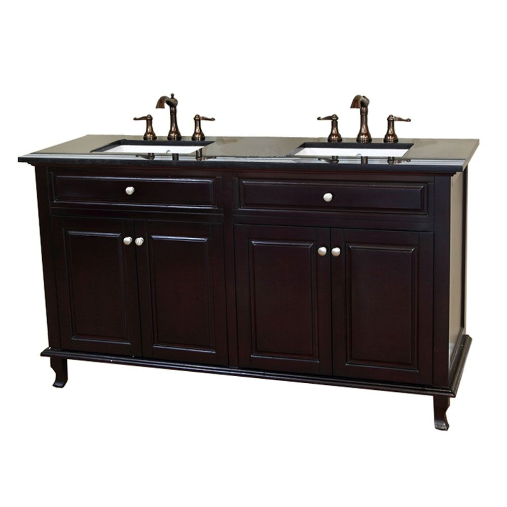 Cardiff 62-inch W Double Vanity in Dark Mahogany with Granite Top in Black Galaxy
