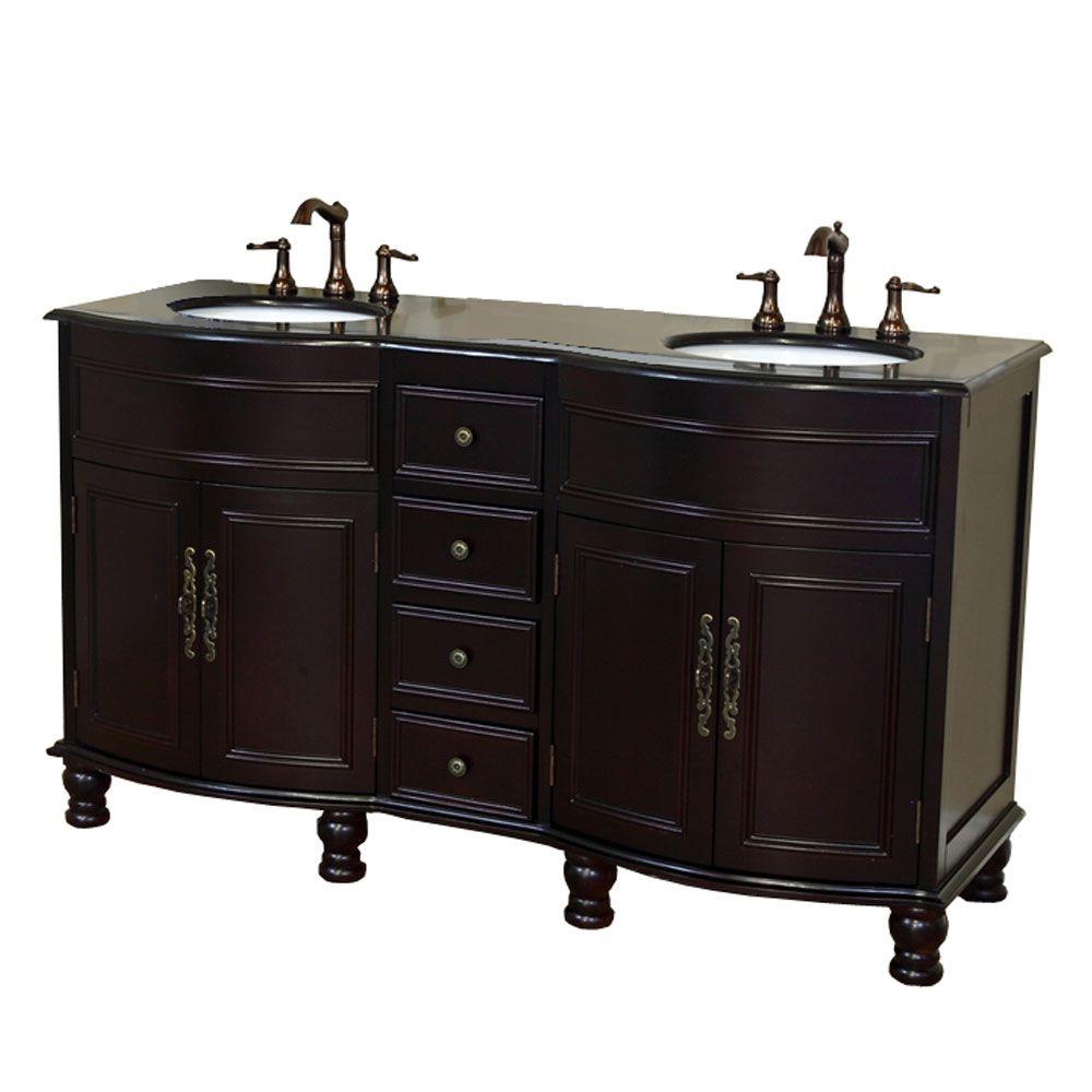 Cambria BG Meuble-lavabo double acajou foncé de 62 po avec comptoir en granit de couleur noir gal...