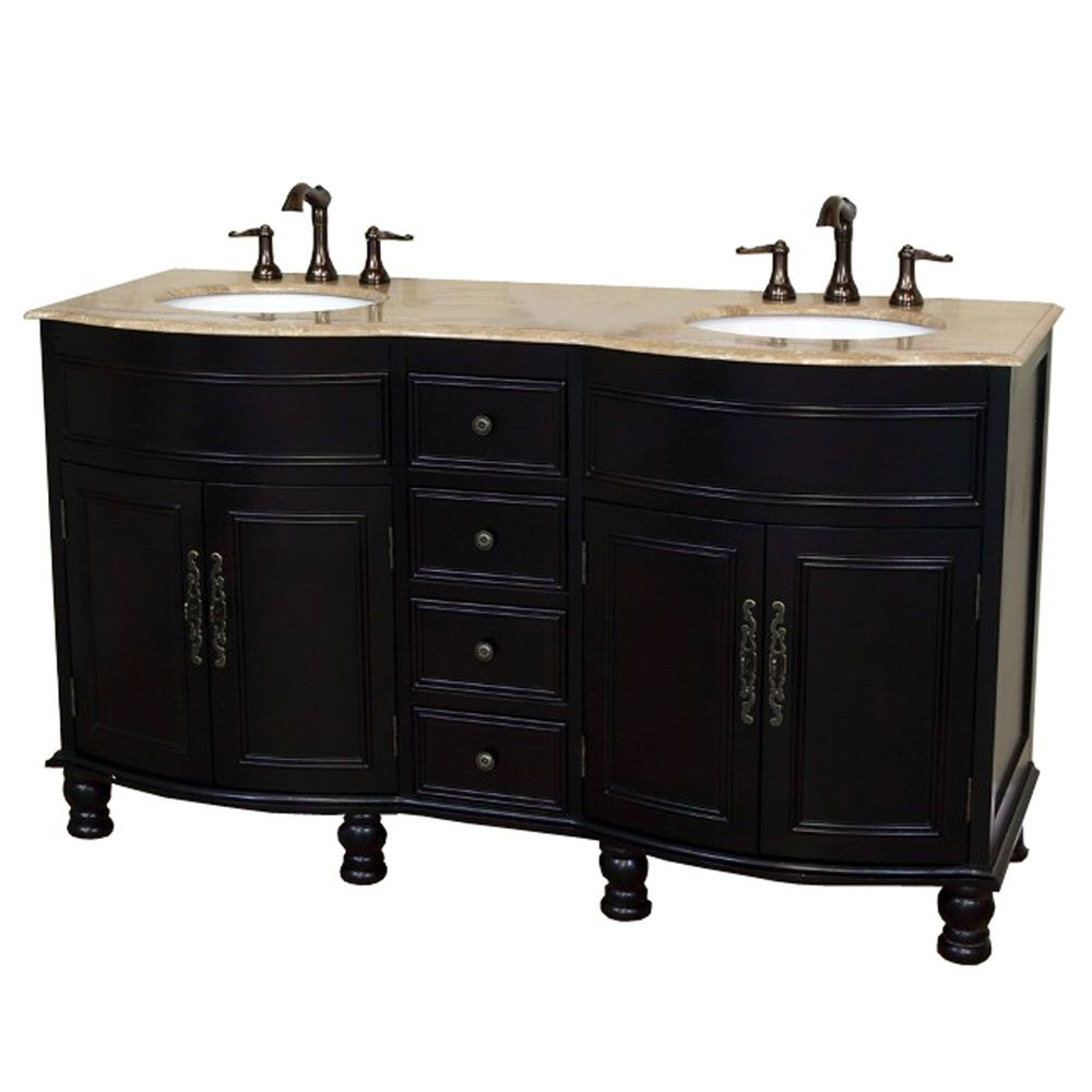 Bellaterra Cambria TR 62-inch Double Vanity in Dark Mahogany with Marble Vanity Top in Travertine