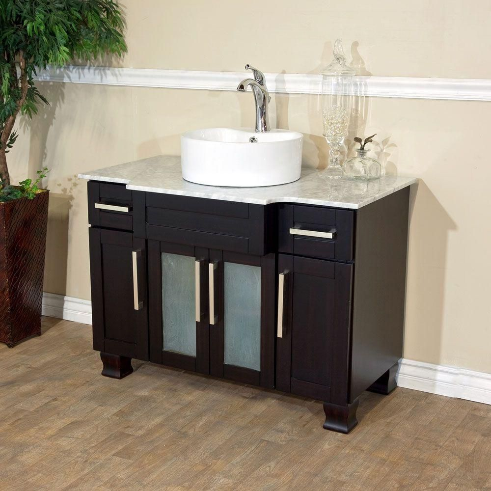 Trento I 40-inch Vanity in Dark Mahogany Finish with Marble Top in White