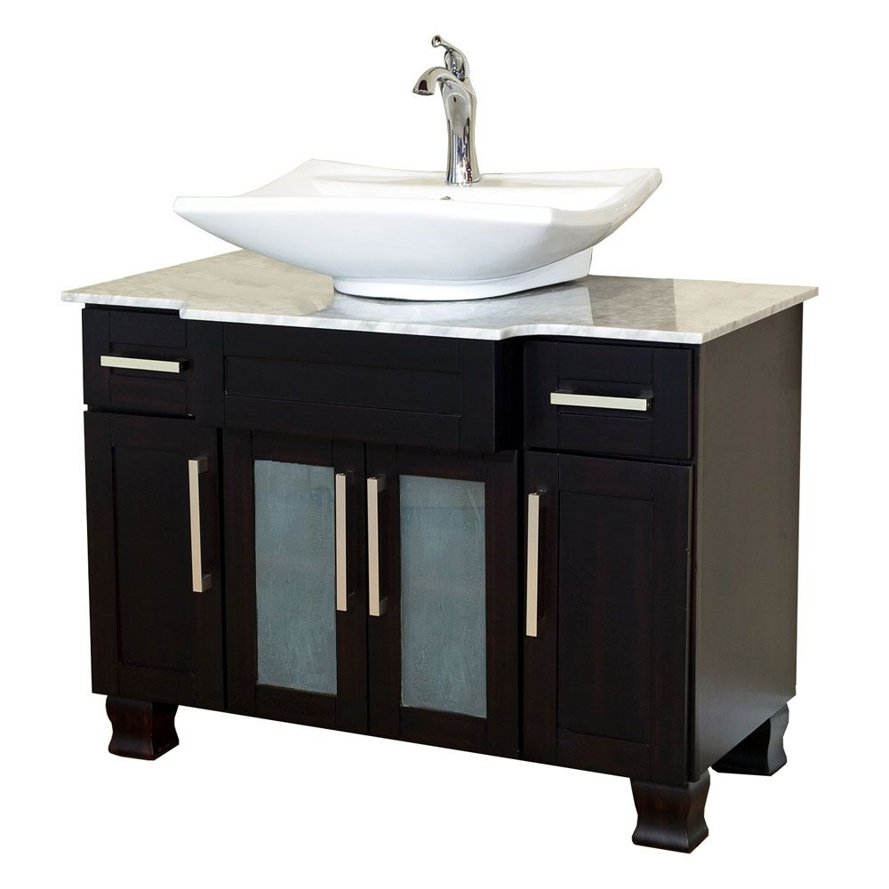 Norwich 40-inch W Vanity in Dark Mahogany Finish with Marble Top in White