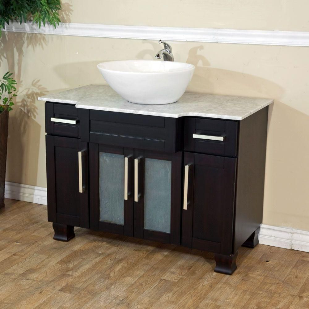 Trento Ii 40-inch W Vanity in Dark Mahogany with Marble Top in White