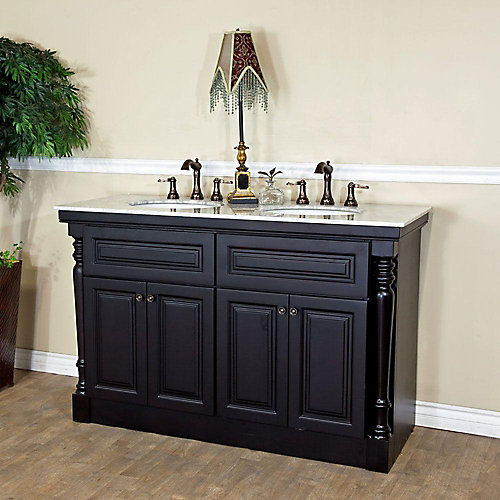 Trento 55-inch W 4-Door Freestanding Vanity in Black With Marble Top in White, Double Basins