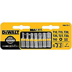 DEWALT 1-inch Torx Security Drill Bit Tip Set (7-Piece)