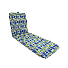 Chaise Lounge Patio Cushion in in Blue Diamond Pattern