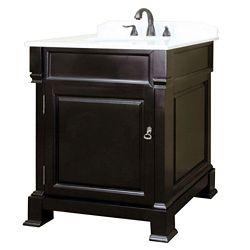 Bellaterra Olivia 30-inch W 1-Door Freestanding Vanity in Brown With Marble Top in White