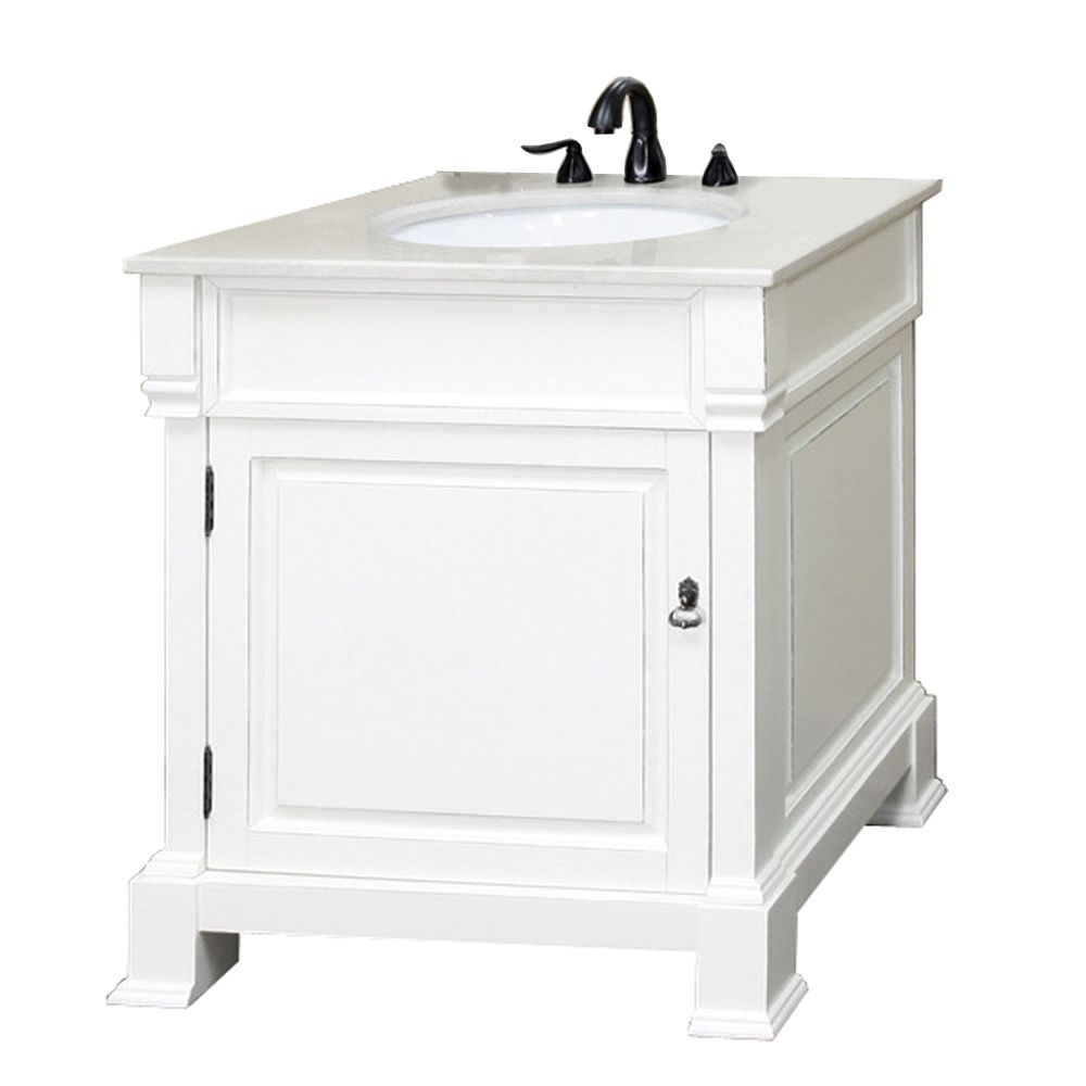 Bellaterra Olivia 30 Inch W 1 Door Freestanding Vanity In White With Marble Top In White The