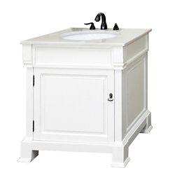 Bellaterra Olivia WH Meuble-lavabo blanc de 30 po avec comptoir en marbre blanc