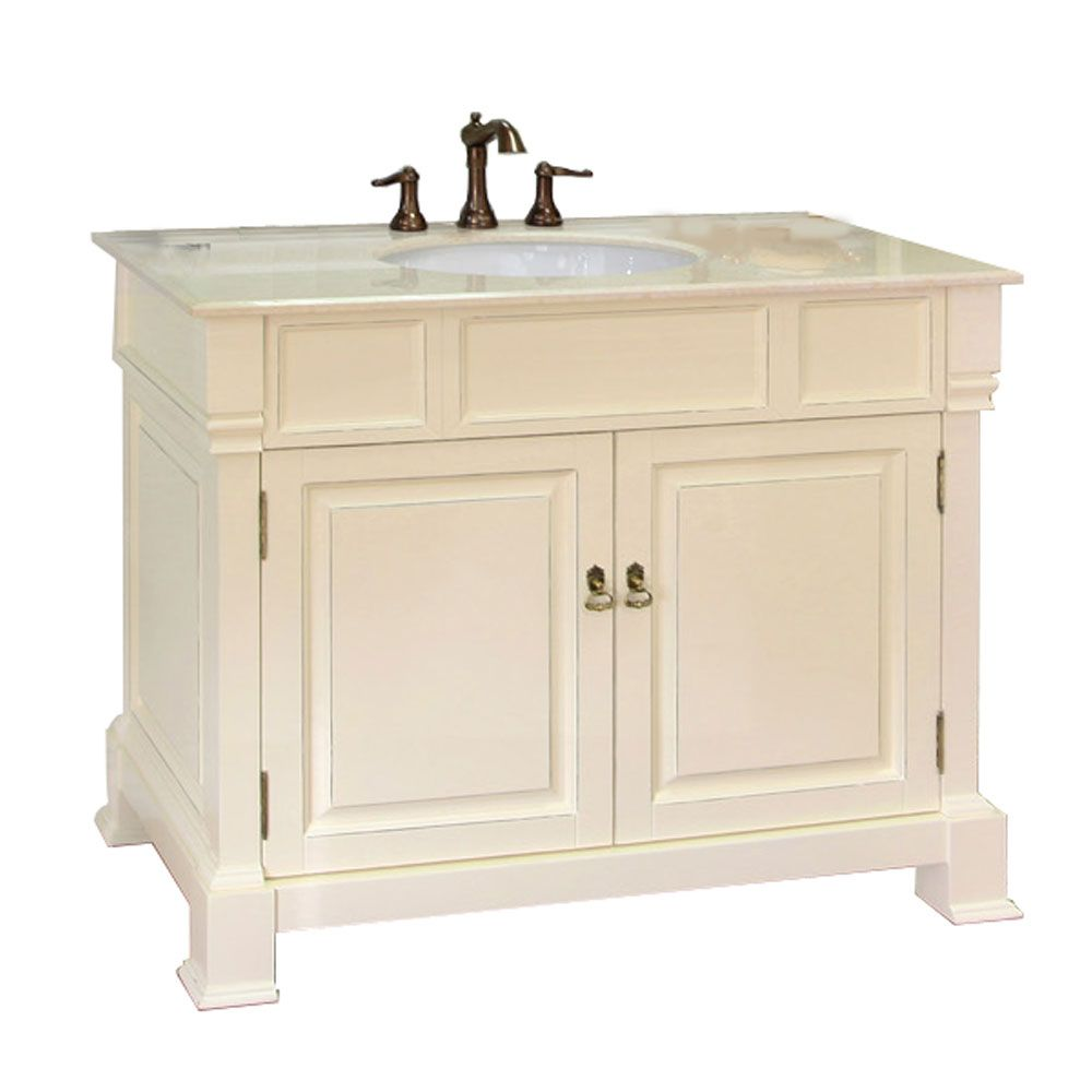 Olivia 42-inch W Vanity in Cream White Finish with Marble Top in Cream