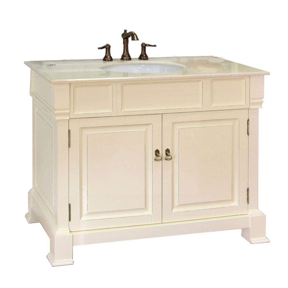 Bellaterra Olivia 42-inch W 2-Door Freestanding Vanity in White With Marble Top in Beige Tan