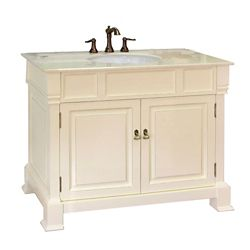 Bellaterra Olivia 42-inch W 2-Door Freestanding Vanity in White With Marble Top in Beige Tan