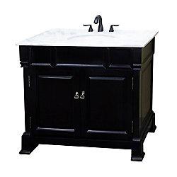 Bellaterra Olivia 42-inch W 2-Door Freestanding Vanity in Black With Marble Top in White