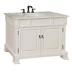 Bellaterra Olivia 42-inch W 2-Door Freestanding Vanity in White With Marble Top in White