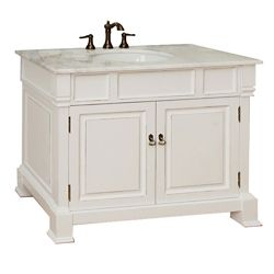 Bellaterra Olivia WH Meuble-lavabo blanc de 42 po avec comptoir en marbre blanc