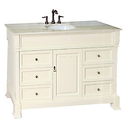 Bellaterra Olivia 50-inch W 6-Drawer 1-Door Freestanding Vanity in White With Marble Top in Beige Tan