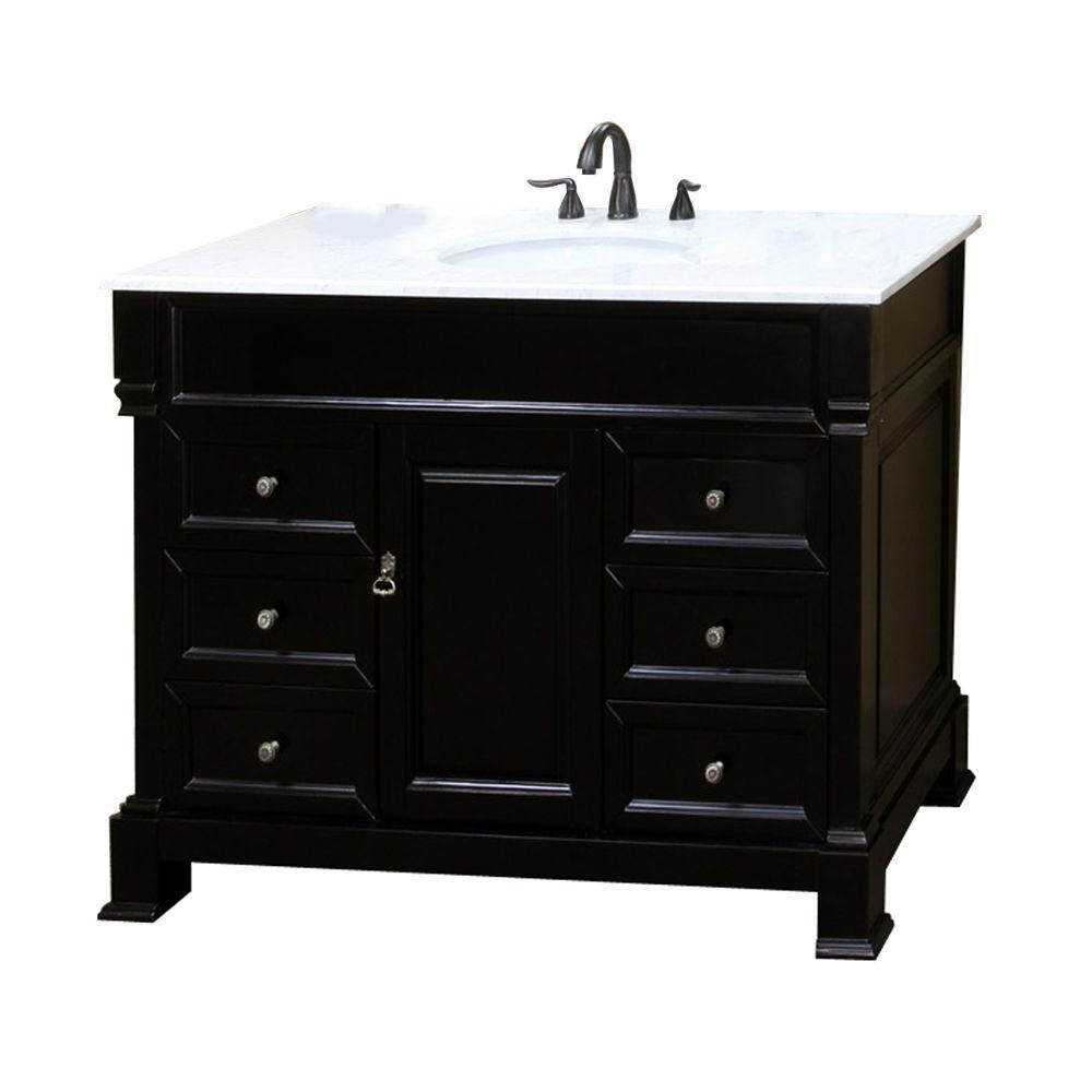 bellaterra olivia es meuble lavabo espresso de 50 po avec comptoir en marbre blanc home depot. Black Bedroom Furniture Sets. Home Design Ideas