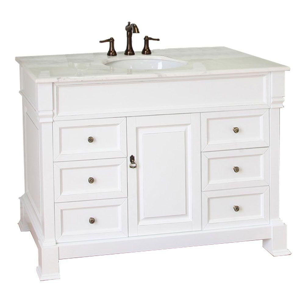 bellaterra olivia wh meuble lavabo blanc de 50 po avec comptoir en marbre blanc home depot canada. Black Bedroom Furniture Sets. Home Design Ideas