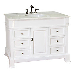 Bellaterra Olivia 50WH 50-inch Single Vanity in White with Marble Vanity Top in White
