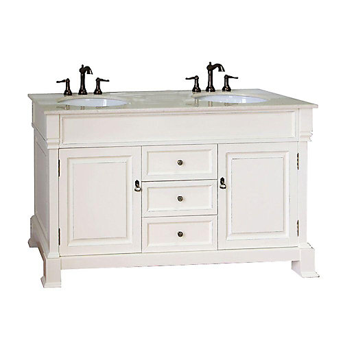 Cambridge 60-inch W 3-Drawer 2-Door Vanity in Off-White With Marble Top in Off-White, Double Basins