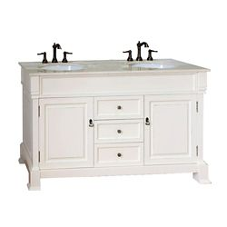 Bellaterra Cambridge 60-inch W 3-Drawer 2-Door Vanity in Off-White With Marble Top in Off-White, Double Basins