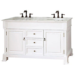 Bellaterra Cambridge 60-inch W 3-Drawer 2-Door Vanity in White With Marble Top in White, Double Basins