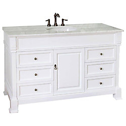 Bellaterra Ashington 60-inch W 6-Drawer 1-Door Freestanding Vanity in White With Marble Top in Silver