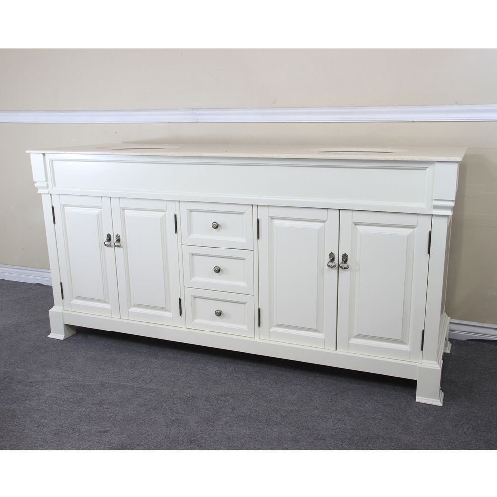 72-inch W Double Vanity in Cream White with Marble Top in Cream