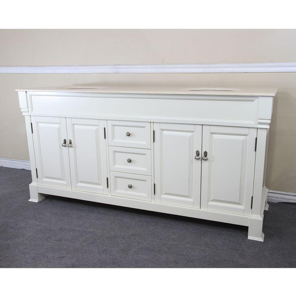 Meuble-lavabo double blanc crème de 72 po avec comptoir en marbre crème