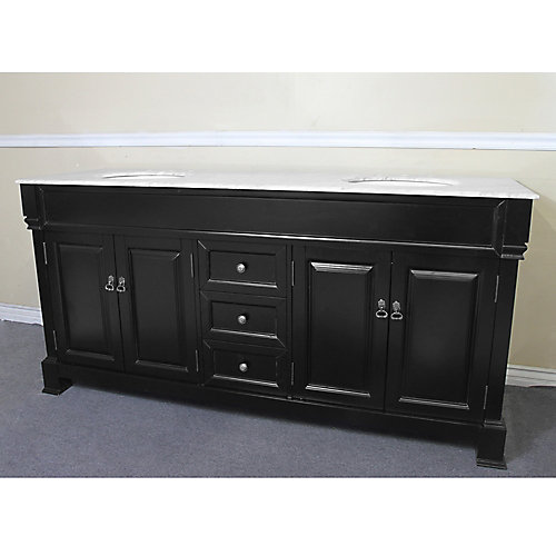 Amiens 72-inch W 3-Drawer 4-Door Vanity in Black With Marble Top in White, Double Basins