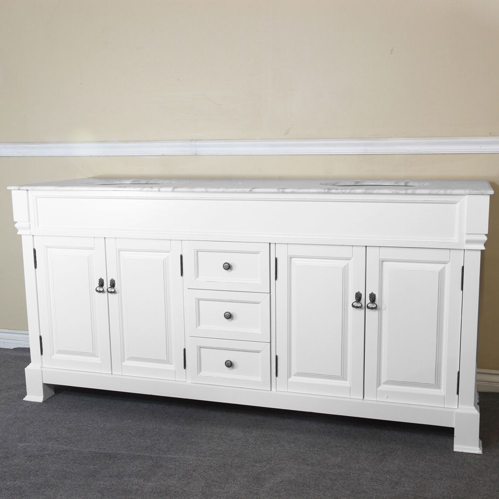 Bellaterra Amiens 72-inch W 3-Drawer 4-Door Vanity in White With Marble Top in White, Double Basins