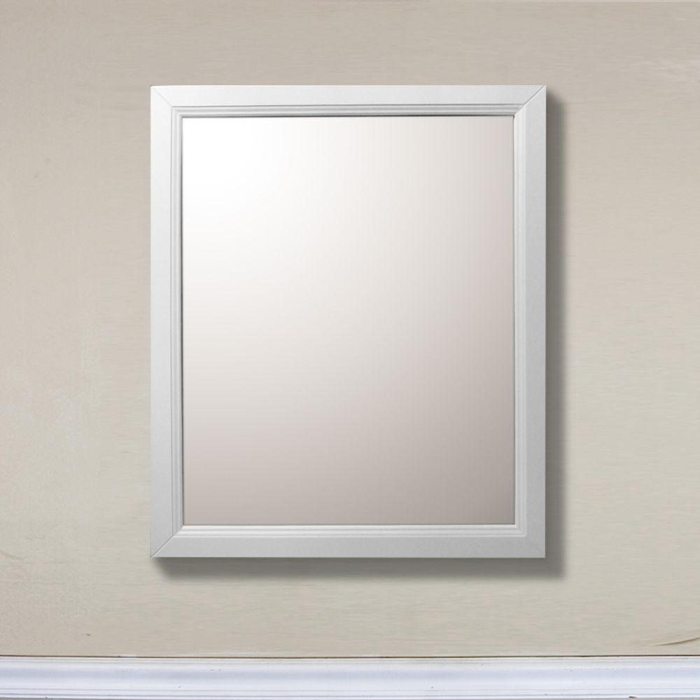 Bellaterra Huron 30-inch W x 1-inch D x 36-inch H Single Framed Wall Mirror in White
