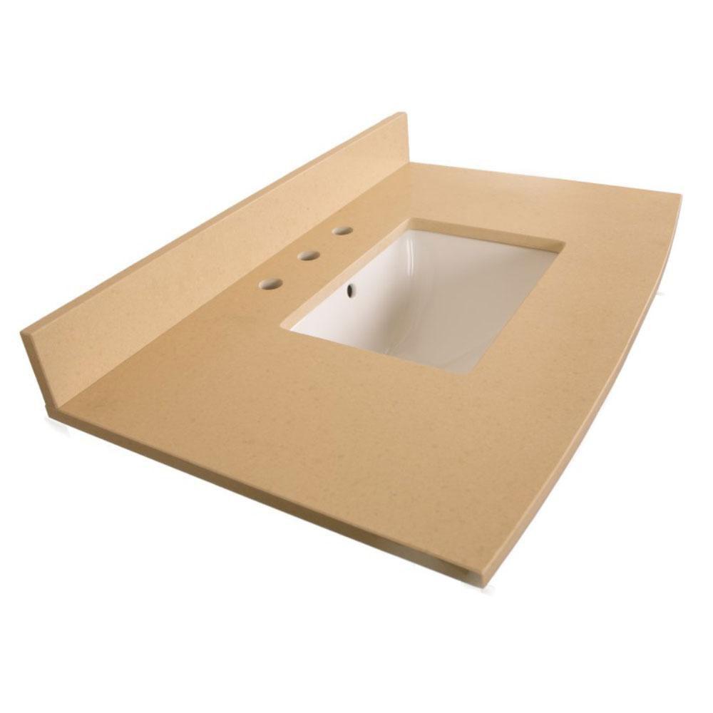 Comptoir pour Meuble-lavabo en quartz beige de 36 po avec lavabo rectangulaire
