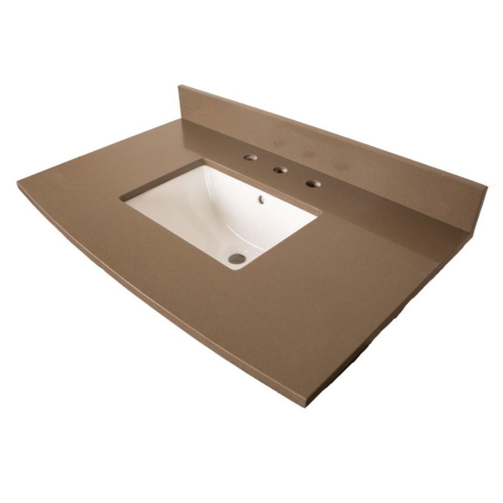 Comptoir pour Meuble-lavabo en quartz taupe de 36 po avec lavabo rectangulaire
