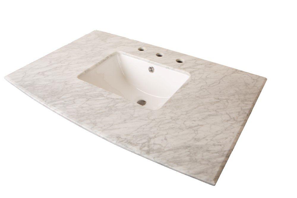 Comptoir pour Meuble-lavabo en marbre de Carrare blanc de 36 po avec lavabo rectangulaire
