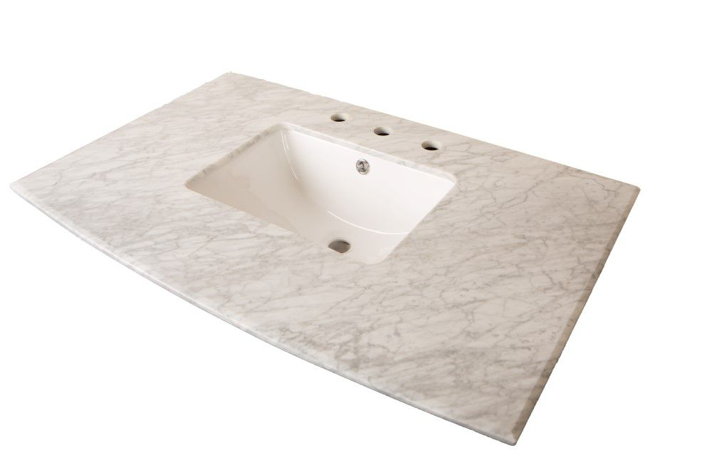 36 Inch W Carrara Marble Vanity Top In White With Rectangular Sink