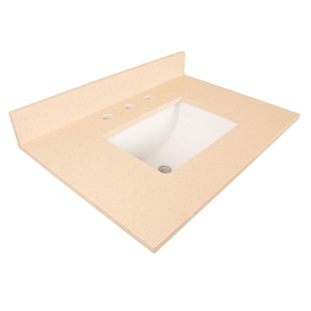 Comptoir pour Meuble-lavabo en quartz beige de 30 po avec lavabo rectangulaire