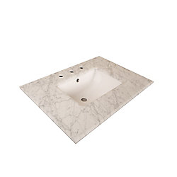 Bellaterra 30-Inch W Carrara Marble Vanity Top in White with Rectangular Sink