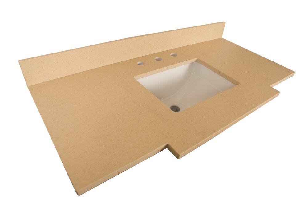 Comptoir pour Meuble-lavabo en quartz beige de 45 po avec lavabo rectangulaire