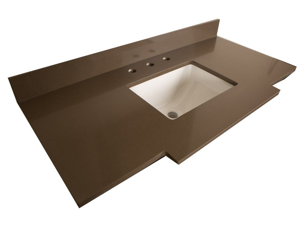 45-Inch W Quartz Vanity Top in Taupe with Rectangular Sink